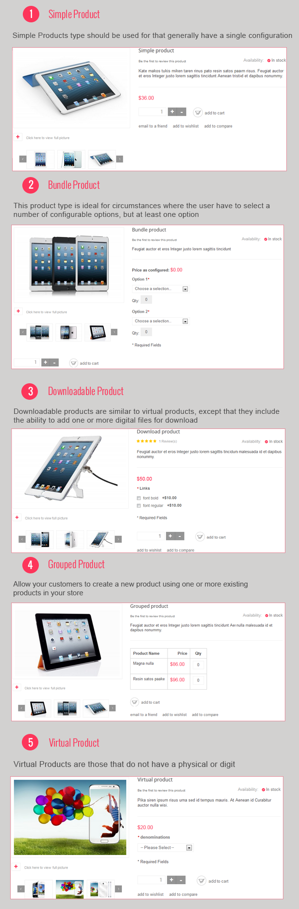 Detail Page with product types