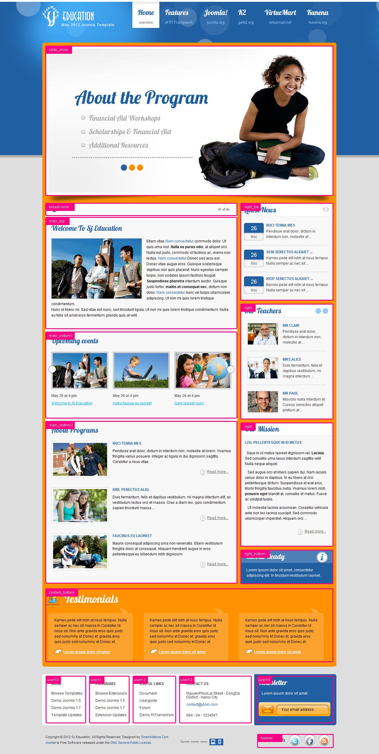 Education Joomla Templates Joomla Education Template - SJ Education