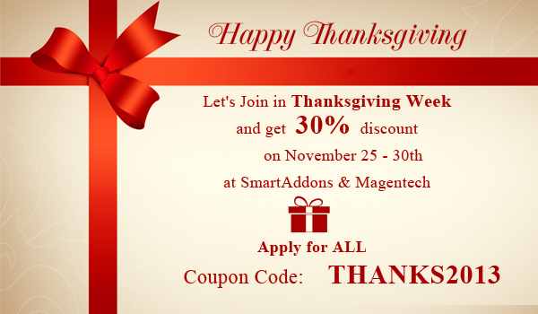 Discount 30% for Thanksgiving Week on SmartAddons and Magentech