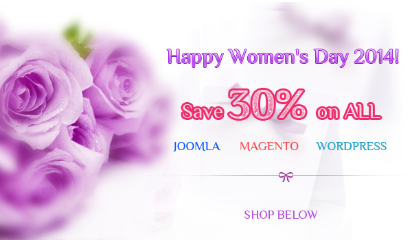 Discount 30% for ALL purchase on International Women's Day