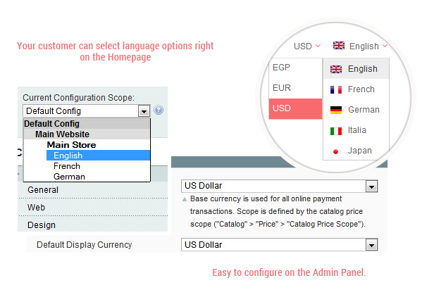 SM Conie- Multiple languages and currencies
