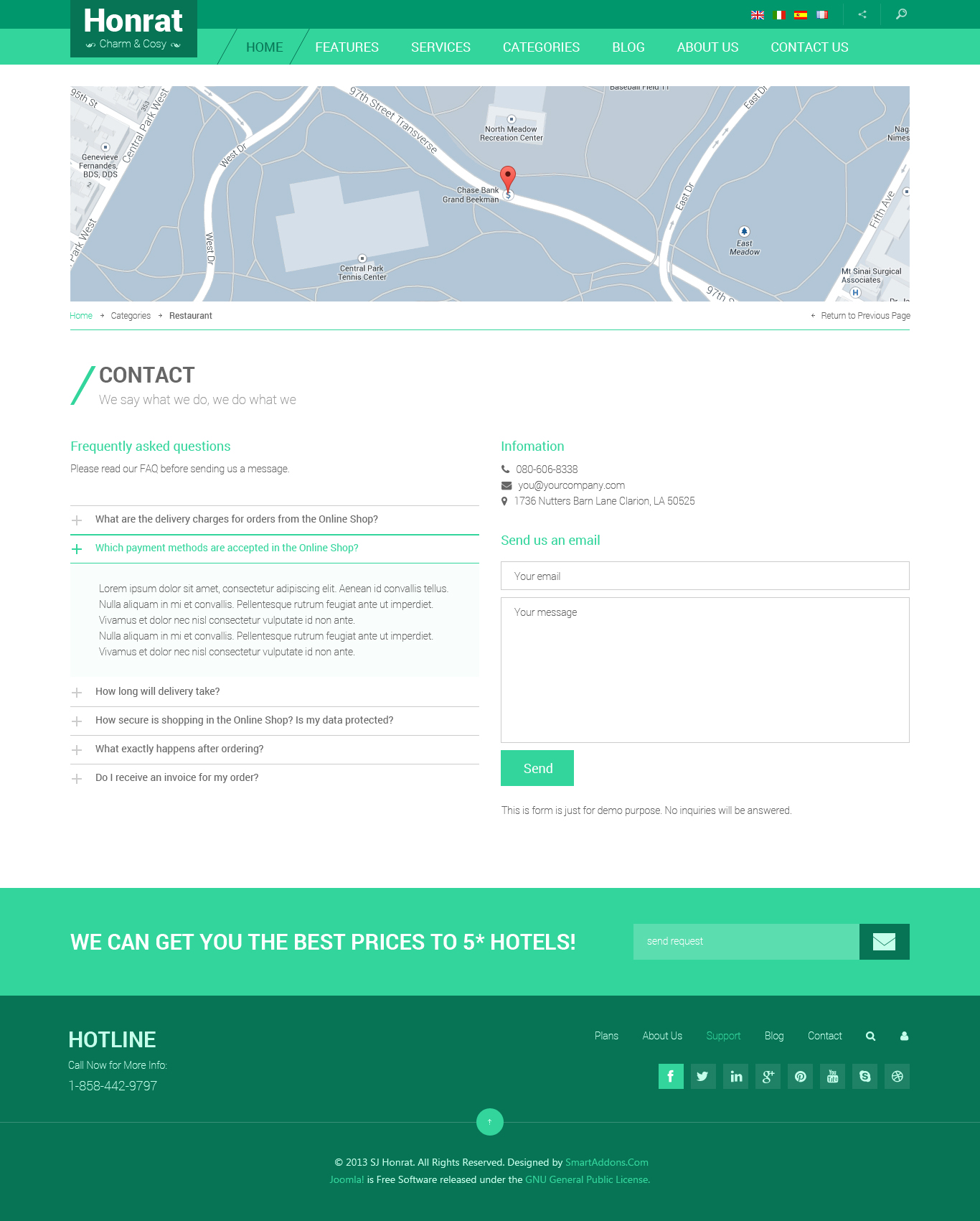 contact us php template - preview sj honrat responsive hotel joomla 3 x template