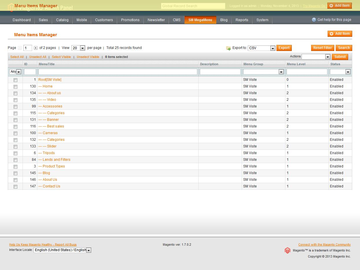 Customer account login/index.php/admin/Cms_Wysiwyg/directive - 3 Mega Menu Items