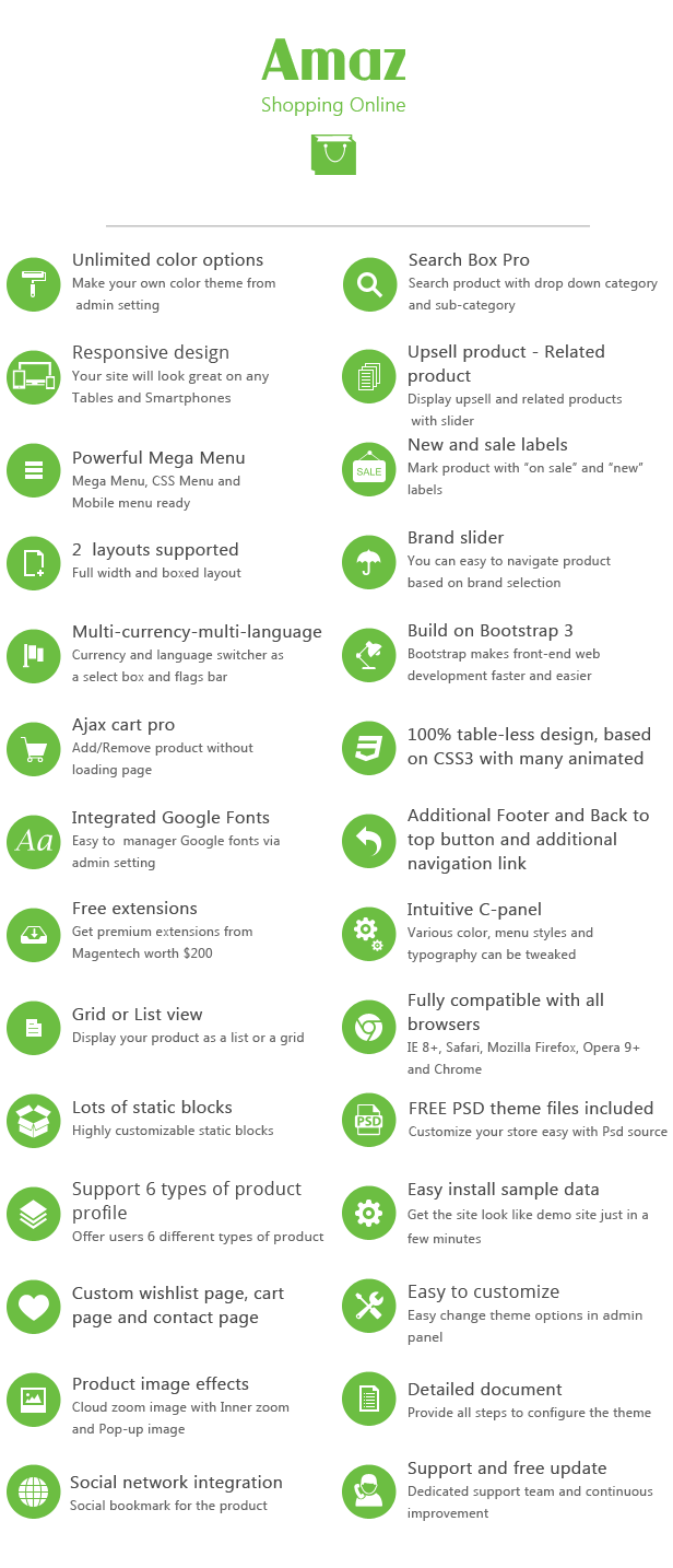 list features amaz - SM Amaz - Premium Responsive Magento Theme