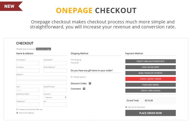 Etrostore - Onepage checkout