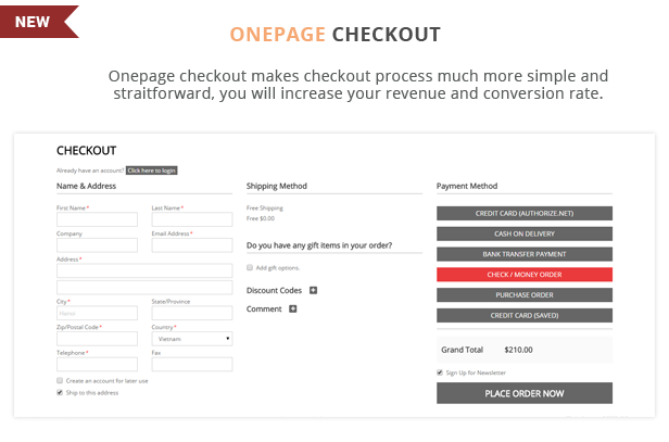 FCstore - Onepage checkout