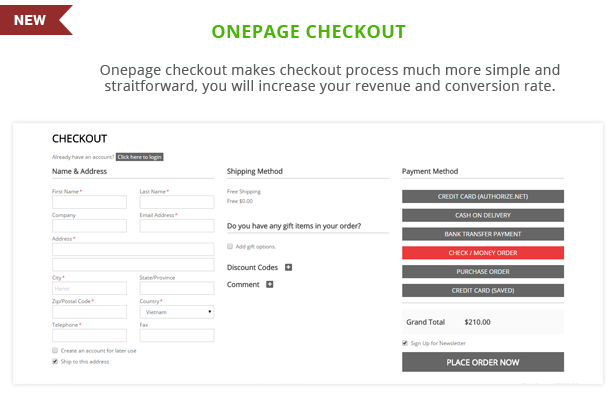 G3shop - Onepage checkout