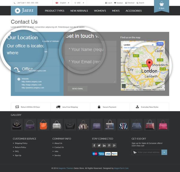 Janu - Contact us page