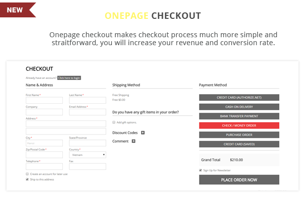 Toppy - Onepage checkout