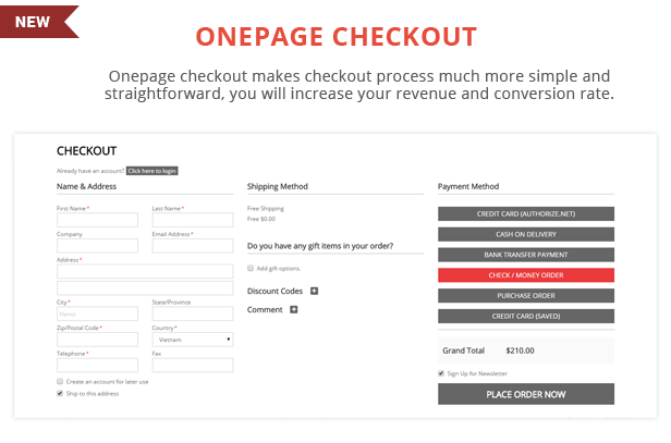 Topshop - Onepage checkout