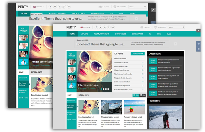 Perty - Responsive News/Magazine Joomla Template