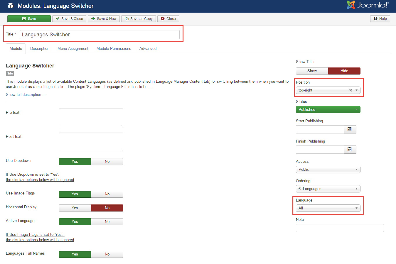 Install joomla language switcher module