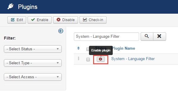 Install multi-language - Language filter
