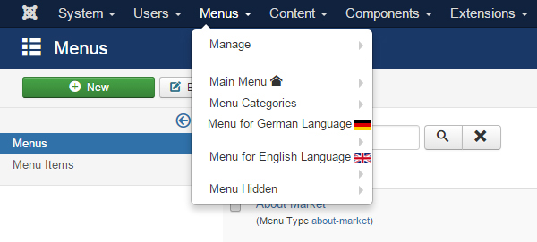 Install multi-language - menu list
