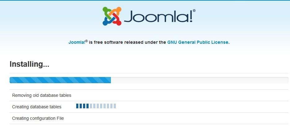 Joomla 3 installation stuck on creating database table